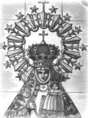Virgen de Montesclaros, en hall de entrada de La Casona