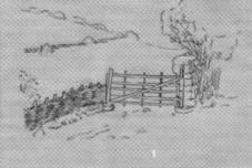 Portilla y setos de madera en Aguayo
