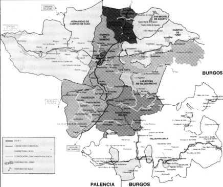 Mapa de la comarca de Campoo