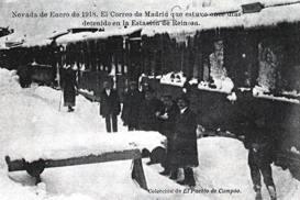 Nevada enero 1918. El tren correo de Madrid estuvo 11 días detenido en Reinosa. Colección El Pueblo d Campoo