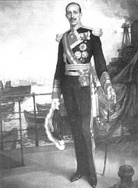 Alfonso XIII, en uniforme de almirante, por Alvarez de Sotomayor. Museo naval. Madrid