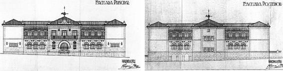Fachadas principal y posterior del Grupo Escolar de Reinosa