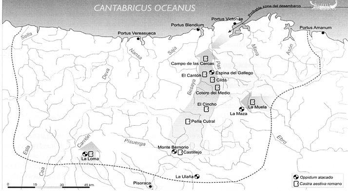 Plano de campamentos romanos de campaña de las Guerras Cantabras