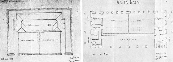 Plano general y de la planta baja del Grupo escolar de Los Carabeos