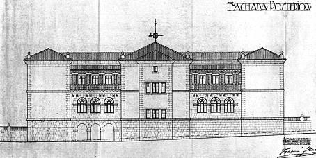 Plano de la fachada posterior del Colegio Concha Espina